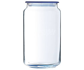 Luminarc Bote de vidrio color azul para conservación y almacenaje de alimentos, 1 litro de capacidad, modeo Ice Blue, serie Rondo 1 unidad