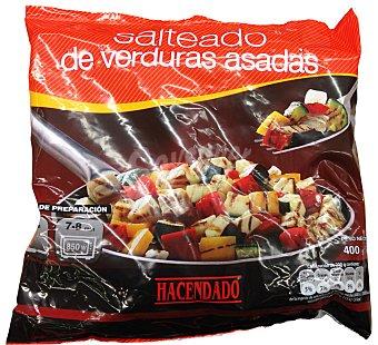 Hacendado Parrillada verduras asadas (patata, calabacin, berenjena, cebolla, pimiento rojo y amarillo) congelado Paquete 400 g