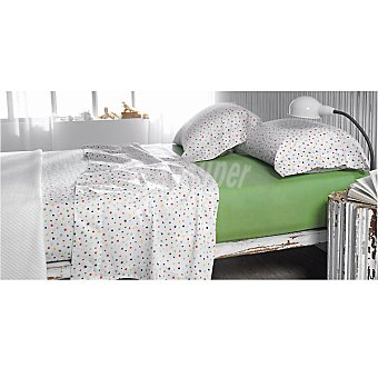CASACTUAL Cosmos Juego de cama estampado multicolor con bajera en verde para cama 135 cm