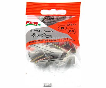FER Tacos Fabricados en Poliamida + Tirafondos Bicromados de 8 Milímetros 3 Unidades