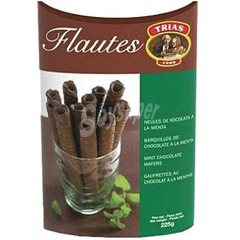 Trias Flautas de barquillo cubiertas de chocolate a la menta Caja 225 g