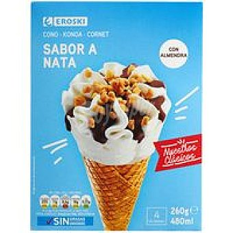 Eroski Basic Cono de nata Pack 4x120 ml