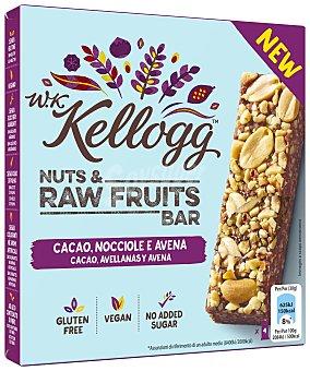 W. K. Kellogg's Barritas de avena con cacao y avellanas sin gluten y sin azúcares añadidos Estuche 120 g