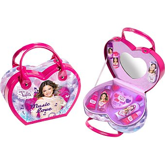 Violetta bolso infantil con gel de baño & champú + leche corporal frasco 60 ml + lima + paleta corazón de gel labial con cepillo + 2 bálsamo labial + 2 gel labial frasco 60 ml