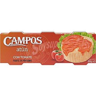 Campos Atún en tomate pack 3 lata 52 g neto escurrido pack 3 lata 52 g