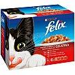 Alimento húmedo para gato selección de carne en gelatina caja 12 unidades Bolsa 100 g Purina Felix