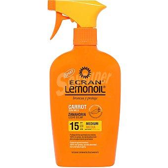 Ecran Lemonoil Broncea y protege leche solar de zanahoria FP-15 pistola 375 ml