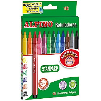 ALPINO Standard Estuche con 12 rotuladores superlavable