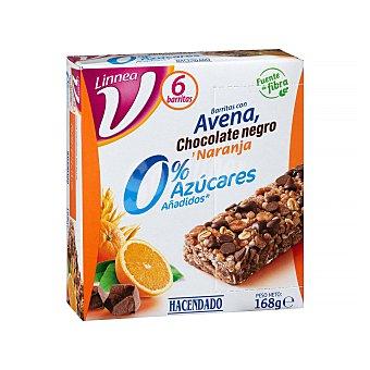 Hacendado Barrita de cereales avena chocolate negro y naranja 0% azúcares añadidos Caja 6 uds