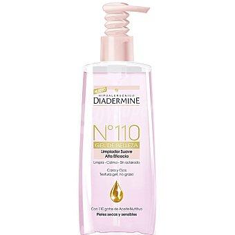 Diadermine Nº 110 gel de belleza limpiador suave alta eficacia para cara y ojos sin aclarado dosificador 200 ml con 110 gotas de Aceite nutritivo para pieles secas y sensibles Dosificador 200 ml