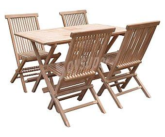 KACTUS REPUBLIC Belgrado Conjunto comedor para jardín o terraza compuesto de mesa y 4 sillas de madera Teka, Republic.