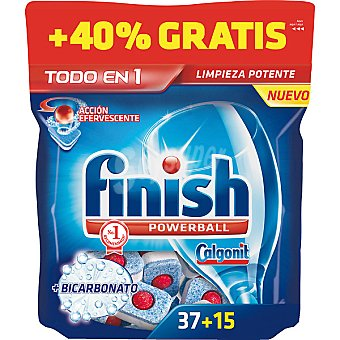 FINISH Calgonit detergente lavavajillas Power Ball todo en 1 bicarbonato acción efervescente  bolsa 37 pastillas + 15 gratis