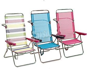 FIBERLINE Silla plegable con posición de cama para camping y playa. Fabricada en aluminio, con asiento y respaldo alto de textileno, medidas 60x65x100 centímetros 1 unidad