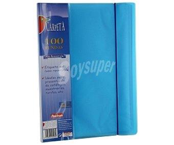 Auchan Carpeta de pliuretano tamaño folio, con 100 fundas, etiqueta en el lomo reversible y tapa rígida de alta resistencia 1 unidad