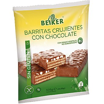 Beiker Barritas crujientes con chocolate sin gluten envase 105 g Envase 105 g