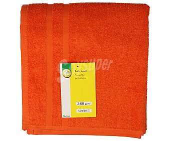 Productos Económicos Alcampo Toalla de lavabo lisa color naranja, densidad de 360 gramos/m², 50x90 centímetros 1 unidad