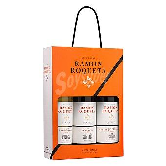 Ramón Roqueta Estuche Vino D.O. Cataluña Chardonay blanco + Garnacha tinto + Caberet Sauvignon tinto 3x75cl