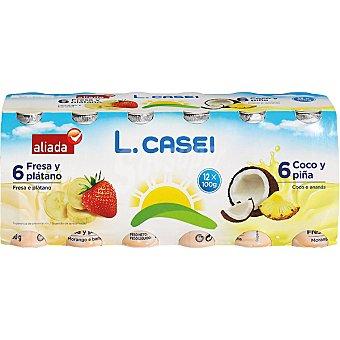 Aliada Yogur líquido l.casei 6 unidades sabor fresa-plátano + 6 unidades sabor piña-coco pack 12 unidades 100 g 6 unidades