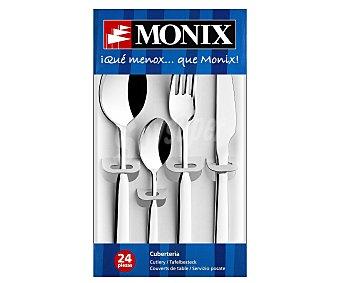MONIX Cuberteria de 24 piezas modelo Milan, fabricada en acero inoxidable 10/18 y con grosor de 2 milímetros 24 piezas