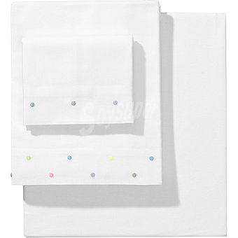 DOMBI Juego de sábanas bordada con topos multicolores para minicuna