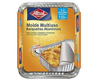 Albal Molde de aluminio multiusos con tapa, 16 x 13cm 5 unidades