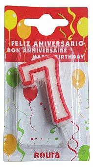 Roura Vela cumpleaños Nº 7 1 unidad