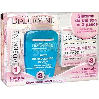 Diadermine Pack piel seca y sensible con crema hidratante nutritiva de día + desmaquillador de ojos suave + toallitas desmaquilladoras