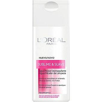 L'OREAL Sublime & Suave Agua micelar desmaquillante para pieles sensibles o secas frasco 200 ml elimina el maquillaje sin aclarado y sin frotar frasco 200 ml
