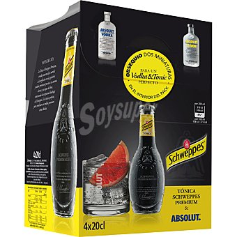 Schweppes Tónica Premium Original pack 4 botellas 20 cl con regalo de 2 miniaturas de vodka Pack 4 botellas 20 cl