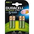Pila recargable Stay AAA blister  4 unidades Duracell
