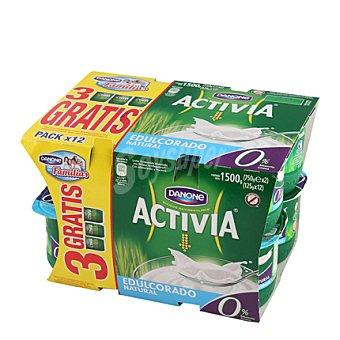 Activia Danone Yogur 0% natural edulcorado Pack de 12x125 g