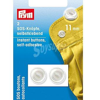 PRYM Estuche 2 botones de emergencia autoadhesivos en color blanco de 11 mm