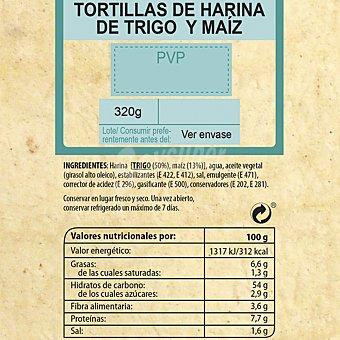 Carrefour Tortillas de harina de trigo y maíz 320 G 1 ud