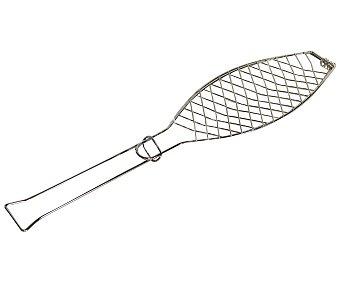 Garden star Parrilla rectangular doble de acero cromado, especial para barbacoas de pescado, 30x13 centímetros 1 unidad
