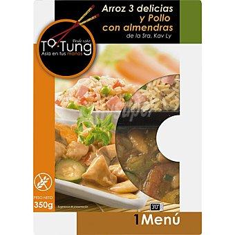 TA-TUNG Menú arroz tres delicias y pollo con almendras  envase 350 g