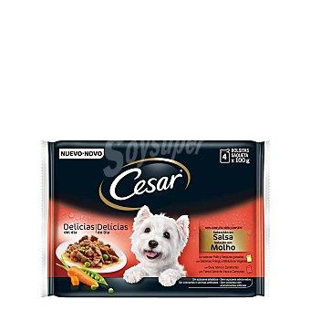 Cesar Selección en salsa de carnes y verduras para perro 4 bolsas de 100 g