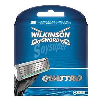 Wilkinson Recambio para maquinilla de afeitar de cuatro hojas Quattro 8 ud