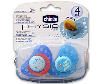 Chicco Chupete physio air de caucho y color rosa +4m 2 unidades