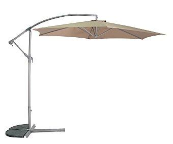 GARDEN STAR Parasol fijo de color marrón con estructura de aluminio de 8 varillas , cobertura de poliester, manivela para abrir, cerrar y cambiar la altura y 3 metros 1 unidad