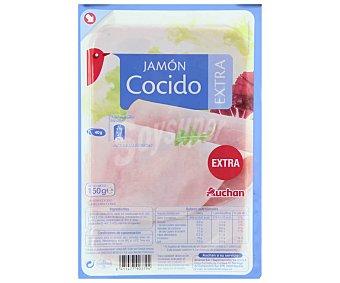 Auchan Jamón cocido de calidad extra, cortado en lonchas 150 gr