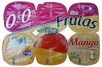 Hacendado Yogur desnatado trozos frutas y mango 6 unidades de 125 g