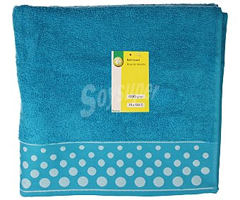 Productos Económicos Alcampo Toalla de ducha 100% algodón color turquesa con cenefa estampado Topos, densidad de 360 gramos/m², 70x130 centímetros 1 unidad