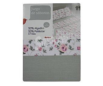 Auchan Juego de sábanas de 3 piezas en tonos grises y rosas con estampado Flor, 50% algodón, 50% poliéster para cama de 90 centímetros 1 unidad