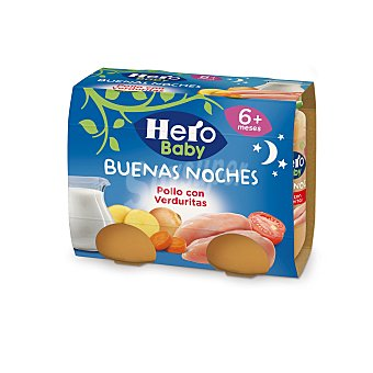 Hero Baby Buenas Noches Tarritos de pollo con verduritas desde 6 meses 2 tarritos x 190g - 380 g