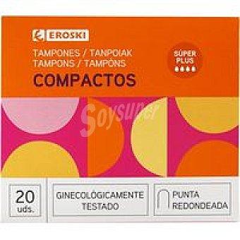 Eroski Tampón con aplicador compacto super+ Caja 20 unid