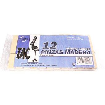 TAC Pinza para la ropa de madera Paquete 12 unidades