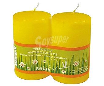 Roura Velas cilindricas perfumadas de 100x50 ml y con olor a citronela 2 unidades