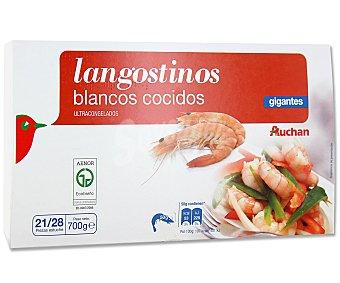 Auchan Langostinos blancos cocidos, gigantes y ultracongelados Caja de 700 gramos