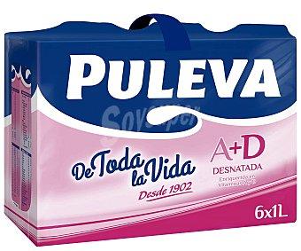 Puleva Leche Desnatada a + d Pack 6 brick x 1 litro