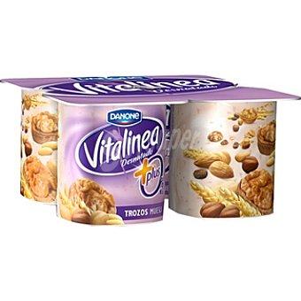 Danone Vitalinea Yogur desnatado 0% plus con trozos de muesli  4 unidades de 125 g